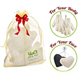 Exfoliating Set - 2 Pairs Body Wash & Scrub Gloves for Bath/Shower + Set of 2 Konjac Face Sponge White and Charcoal - Best for Deep yet Gentle Facial Cleansing for All Skin Types, Great Gift