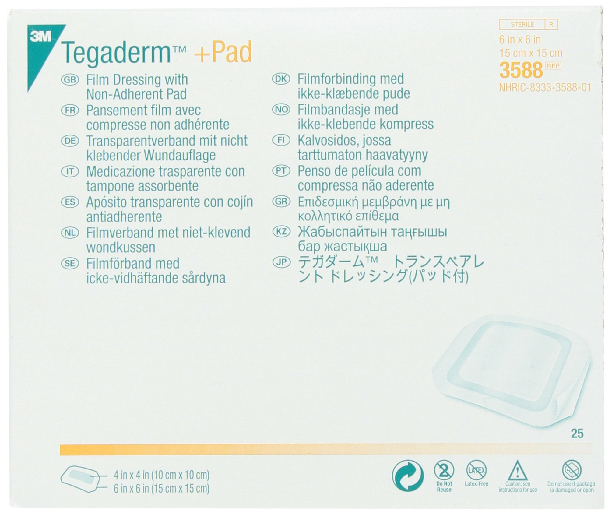 3M 3588 Tegaderm +Pad Film Dressing with Non-Adherent Pad, 25 Pads Per Pack (Pack of 1) by 3M