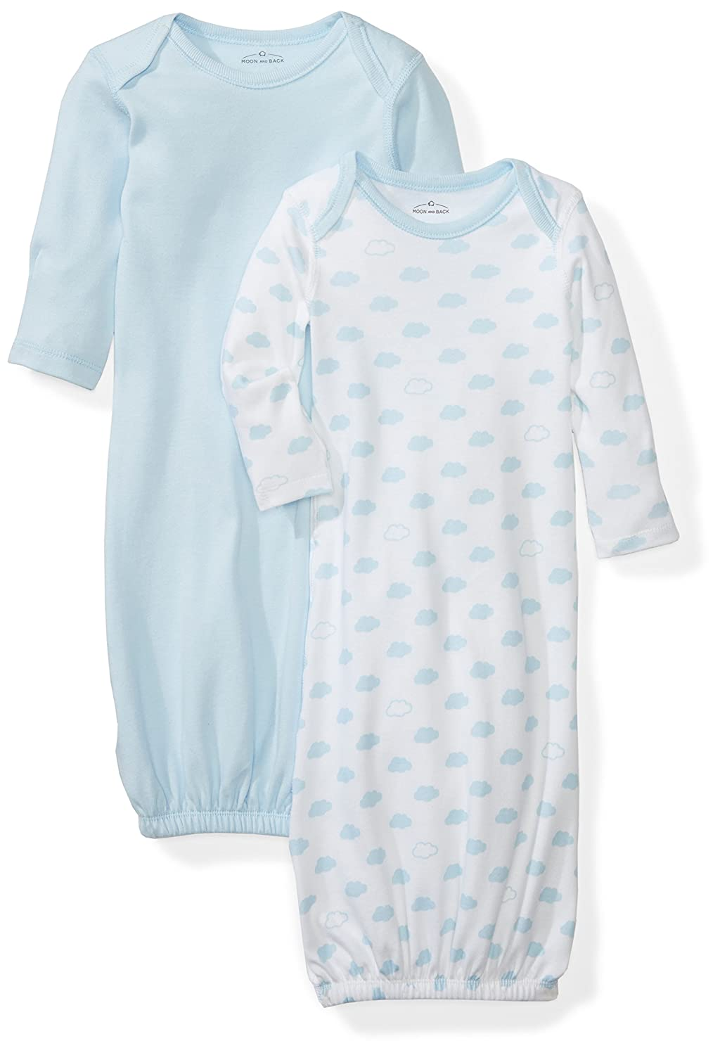Amazon.com: Moon and Back Baby Set of 2 Organic Sleeper Gowns, Blue ...