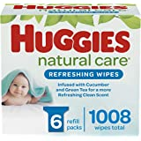 Baby Wipes, Huggies Natural Care Refreshing, SCENTED, Hypoallergenic, 6 Refill Packs, 1008 Count