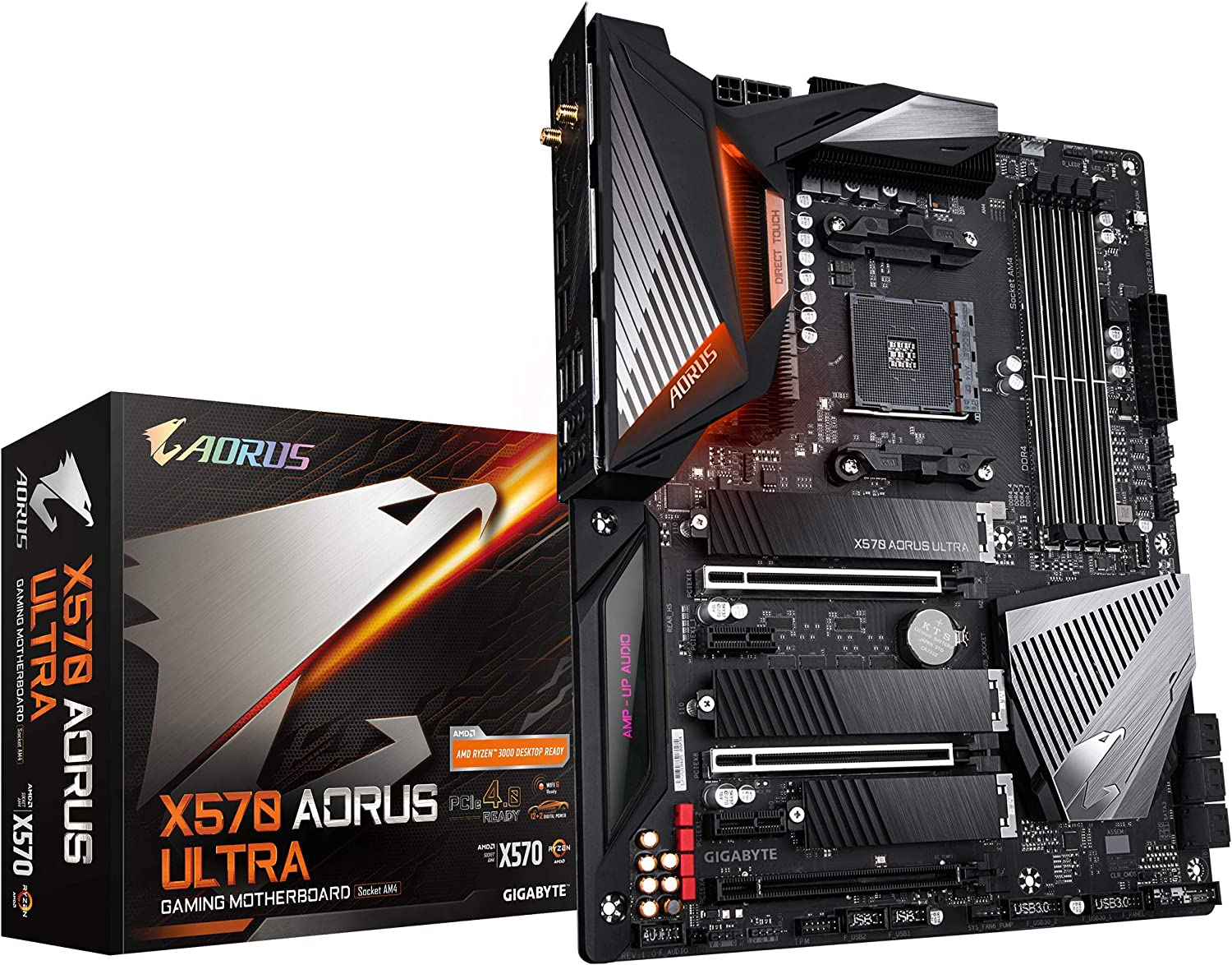 Gigabyte X570 AORUS Ultra (AMD Ryzen 3000/X570/ATX/PCIe4.0/DDR4/USB3.1/Realtek ALC1220-Vb/Fins-Array Heatsink/RGB Fusion 2.0/3xM.2 Thermal Guard/Gaming Motherboard)