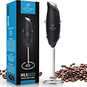 One Touch Milk Frother Handheld Foam Maker for Lattes - Whisk Drink Mixer for Bulletproof® Coffee Frother, Mini Blender and Milk Foamer Frother for Cappuccino, Frappe, Matcha