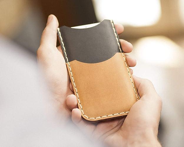 Café claro y Negro Estuche Billetera Funda De Cuero para iPhone 11 Pro Max, XS Max, 8 Plus, 7 Plus con bolsillos para tarjetas de crédito. Estuche de manga. Cosido a mano.: