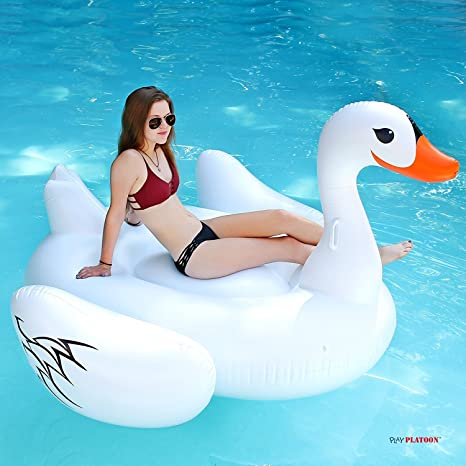Play Platoon Giant 75u0026quot; Luxury Inflatable Swan Pool Float   Rideable Pool  Toy For Floating