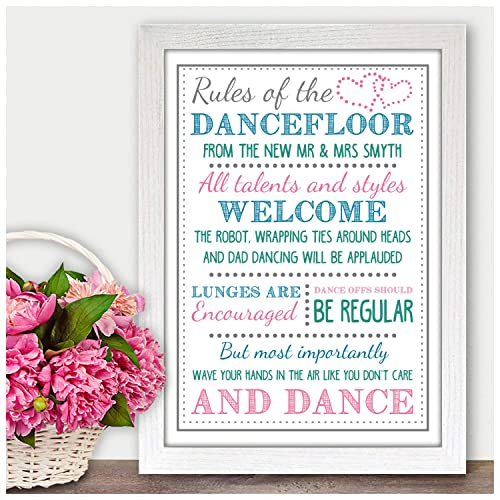 Personalised Wedding Dance Floor Rules Wedding Sign Band Dj Sign