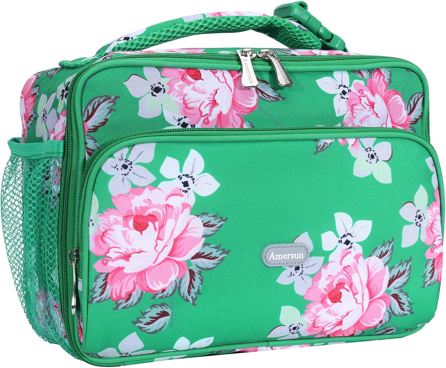 Amersun Lunch Bag for Women,Sturdy Insulated Lunch Box with Padded Liner Keep Food Warm Cold for Long Time, Thermal Lunch Cooler for Girl Adults Work Travel Picnic(2 Pocket,Peony Green)
