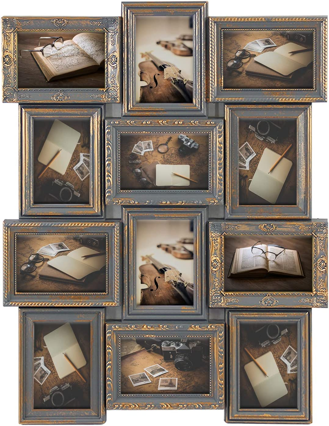 Jerry & Maggie - Photo Frame 23X18 Gray Gold Finish Curved PVC Picture Frame Selfie Gallery Collage Wall Hanging For 6x4 Photo - 12 Photo Sockets - Classic Loyalty Style - Wall Mounting Design