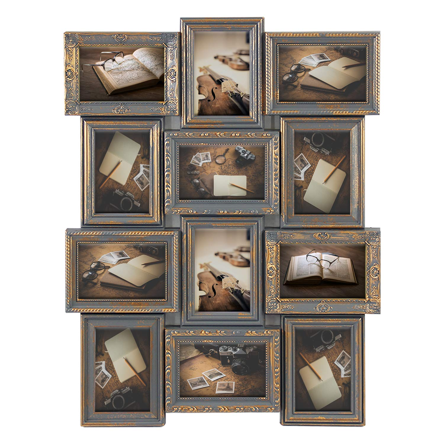 Jerry & Maggie - Photo Frame 23X18 Gray Gold Finish Curved PVC Picture Frame Selfie Gallery Collage Wall Hanging for 6x4 Photo - 12 Photo Sockets - Classic Loyalty Style - Wall Mounting Design by Jerry & Maggie