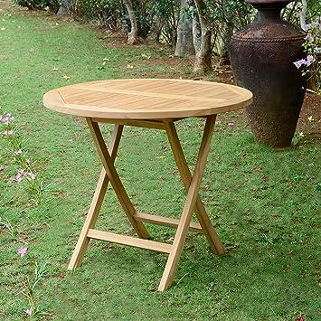 TECK\'Attitude Table de Jardin Ronde Pliante en Teck Ø 90 cm ...