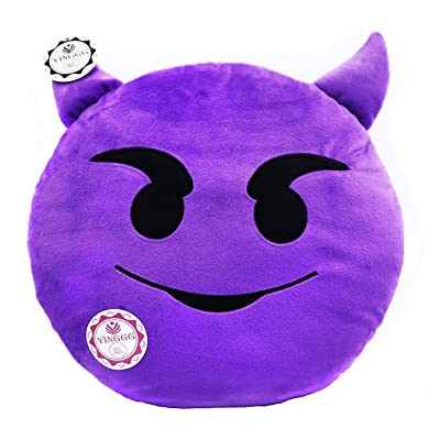 YINGGG Cute Emoji Plush Pillow Round Cushion Toy Gift for Friends/Children (Devil): Home & Kitchen