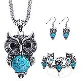 Miraculous Garden Girls Vintage Owl Jewelry Sets Silver Retro Turquoise Gemstone Owl Pendant Necklace Drop Earrings Charm Bracelet Set (Antique Silver)