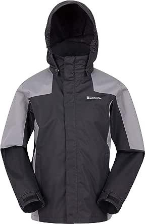 Mountain Warehouse Samson II Kids Waterproof Jacket - Breathable Rain Coat, Taped Seams, Adjustable Fit Coat - for Boys & Girls - Camping, Hiking, Walking