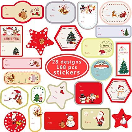 amazon com christmas tags gift labels with santa claus snowmen