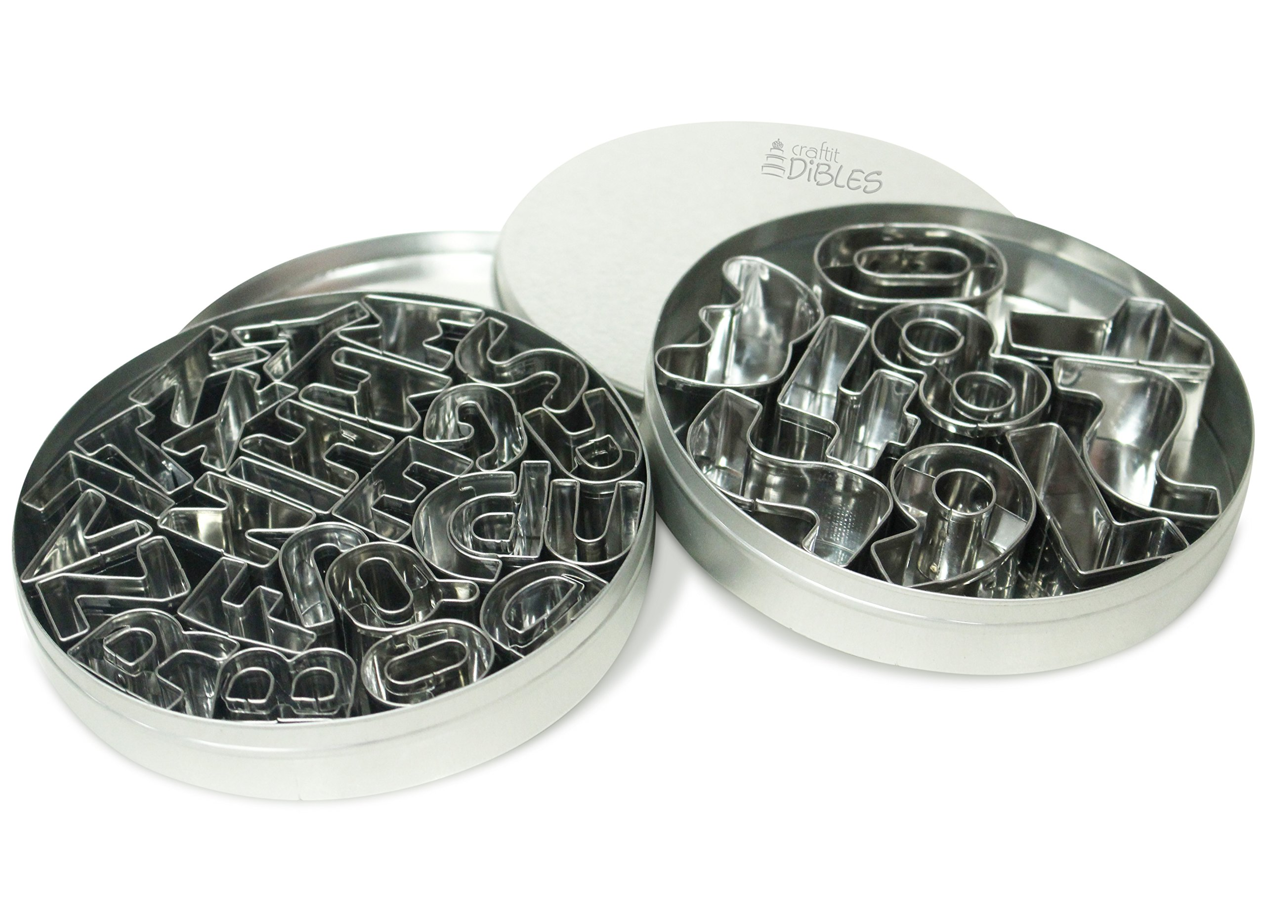 Number & Letter fondant cutters by CiE - 35 Pcs, Mini alphabet and number cookie cutter set. Includes storage boxes and recipe. by Craftit Edibles
