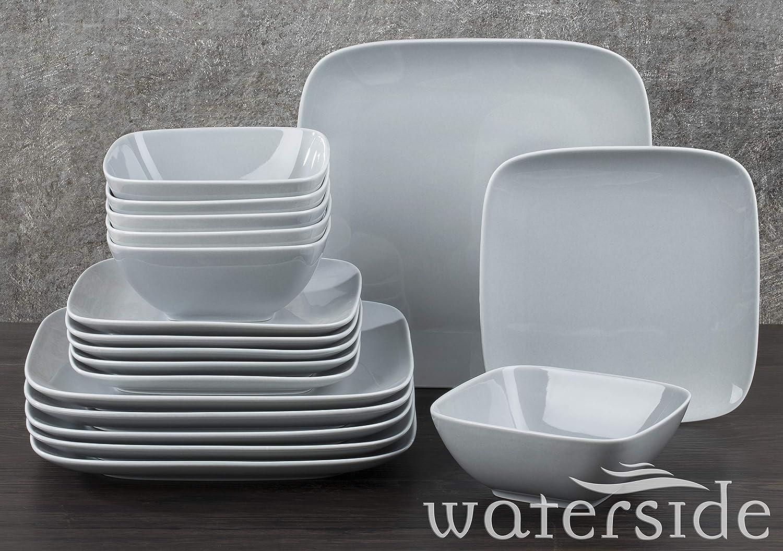 Waterside 24 Piece Hampton Square Dinner Set White//Grey