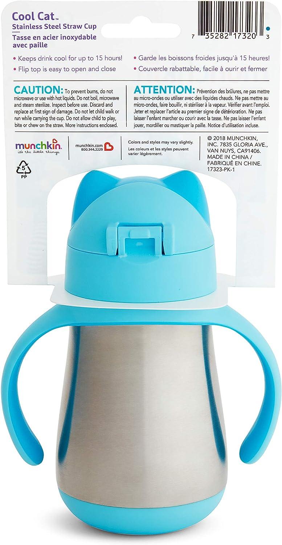 Munchkin Cool Cat 237 ml Vaso de acero inoxidable con pajita azul