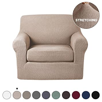 Sensational Turquoize Chair Slipcover 2 Piece Sofa Covers Skid Resistance Jacquard Spandex Couch Covers Knitted Jacquard High Stretch Couch Ncnpc Chair Design For Home Ncnpcorg