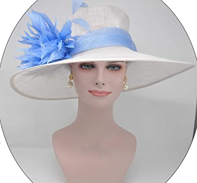 79d8e3a14 ray&danile Wide Brim Sinamay hat with Feather Flowers, White with ...