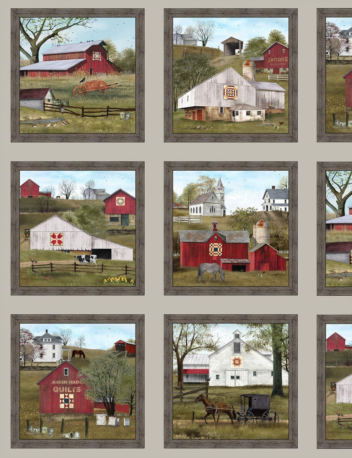 Headin Home Barn Quilts Panel from Elizabeth's Studio 100% Cotton Quilt Fabric 4704 Sepia