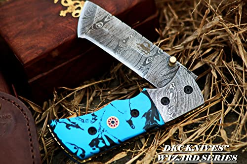 DKC Knives 12 7 18 DKC-27-CB-x Wizard Caribbean Blue 7 Long, 4 Folded 6oz Damascus Tanto Folding Pocket Hunting Knife TM Damascus Steel