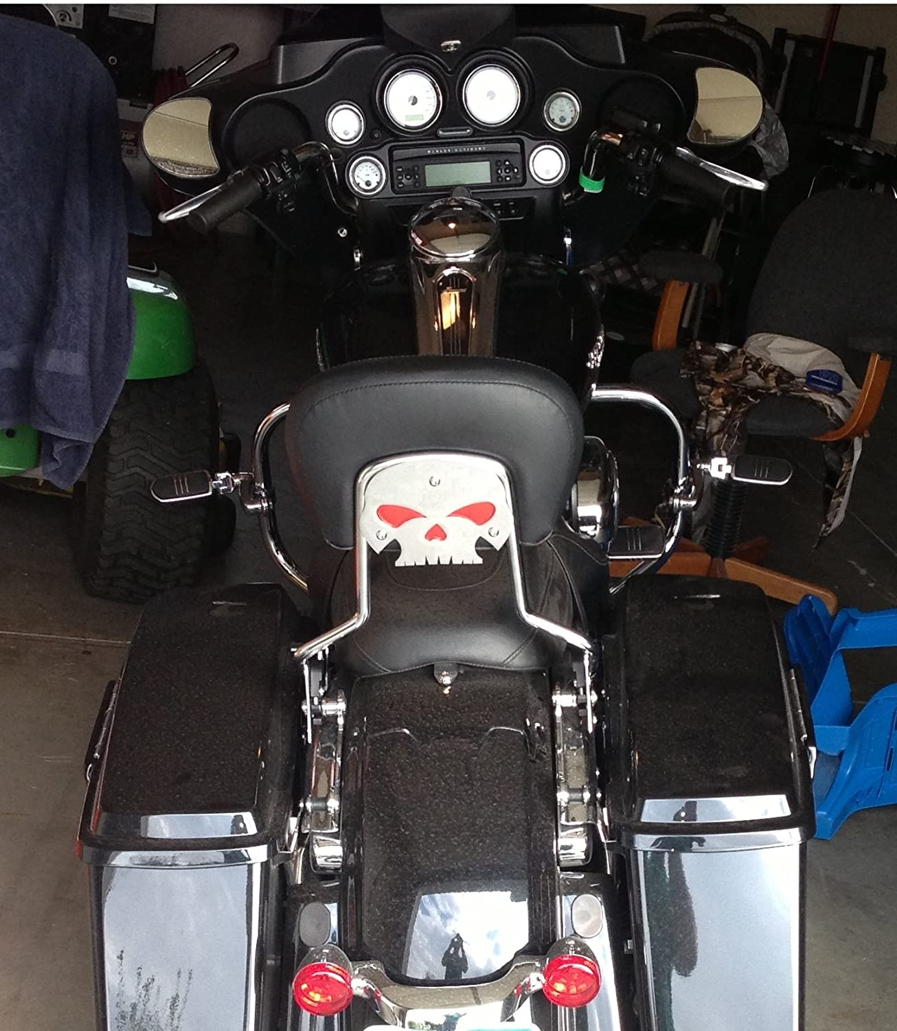 backrest not included Harley Davidson chrome skull backrest mounting plate with red eyes fits touring bikes Road King Street Glide mounting plate only