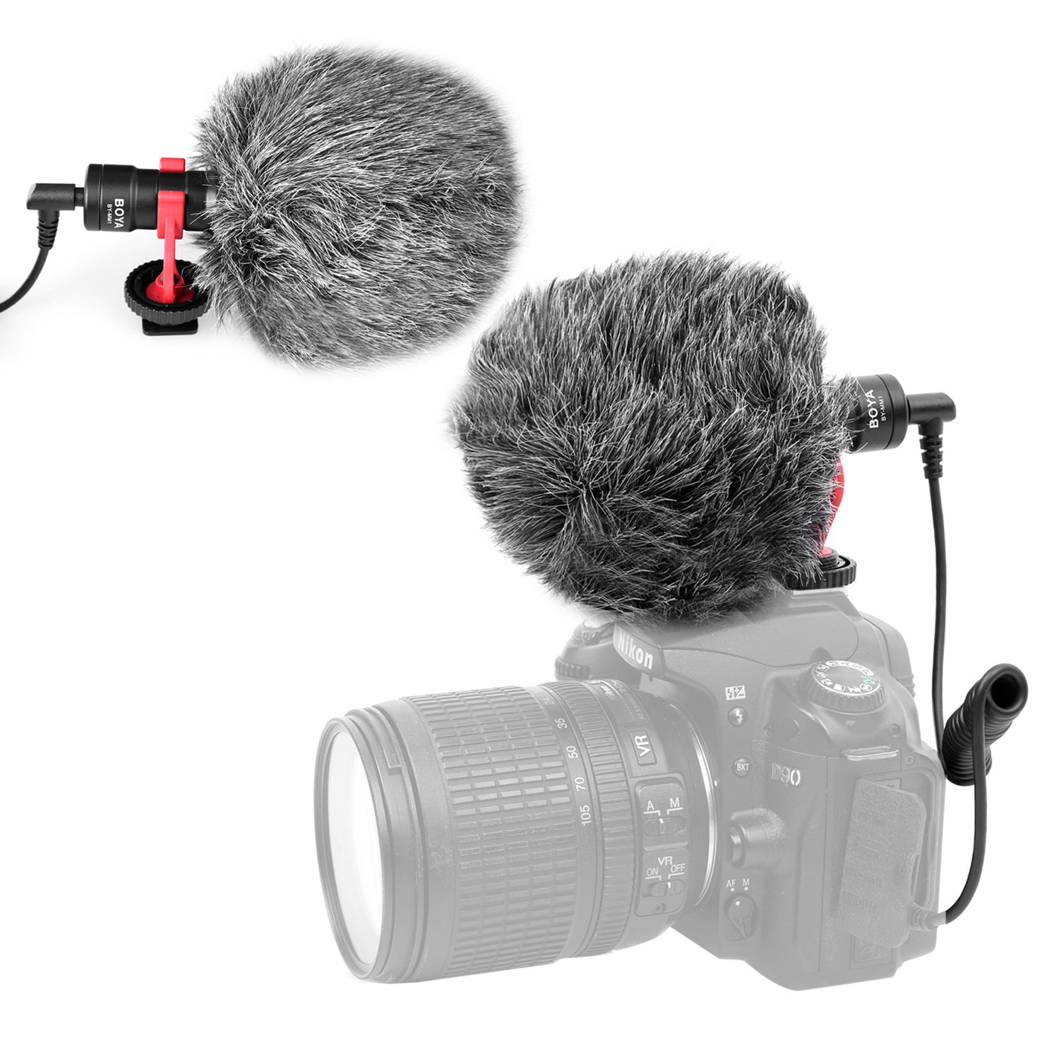 Kamisafe BOYA by-MM1 Mini Shotgun Video Microphone 3.5mm Universal Cardioid Recording Mic Compatible with iPhone Huawei DJI Osmo Mobile ZHIYUN Smooth Q Canon Nikon Sony DSLR Cameras Camcorders