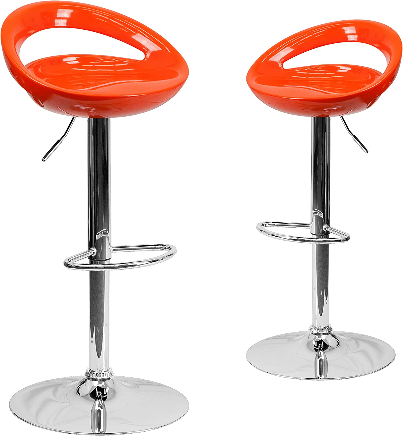 Flash Furniture 2 Pack Contemporary Orange Plastic Adjustable Height Barstool with Rounded Cutout Back and Chrome Base