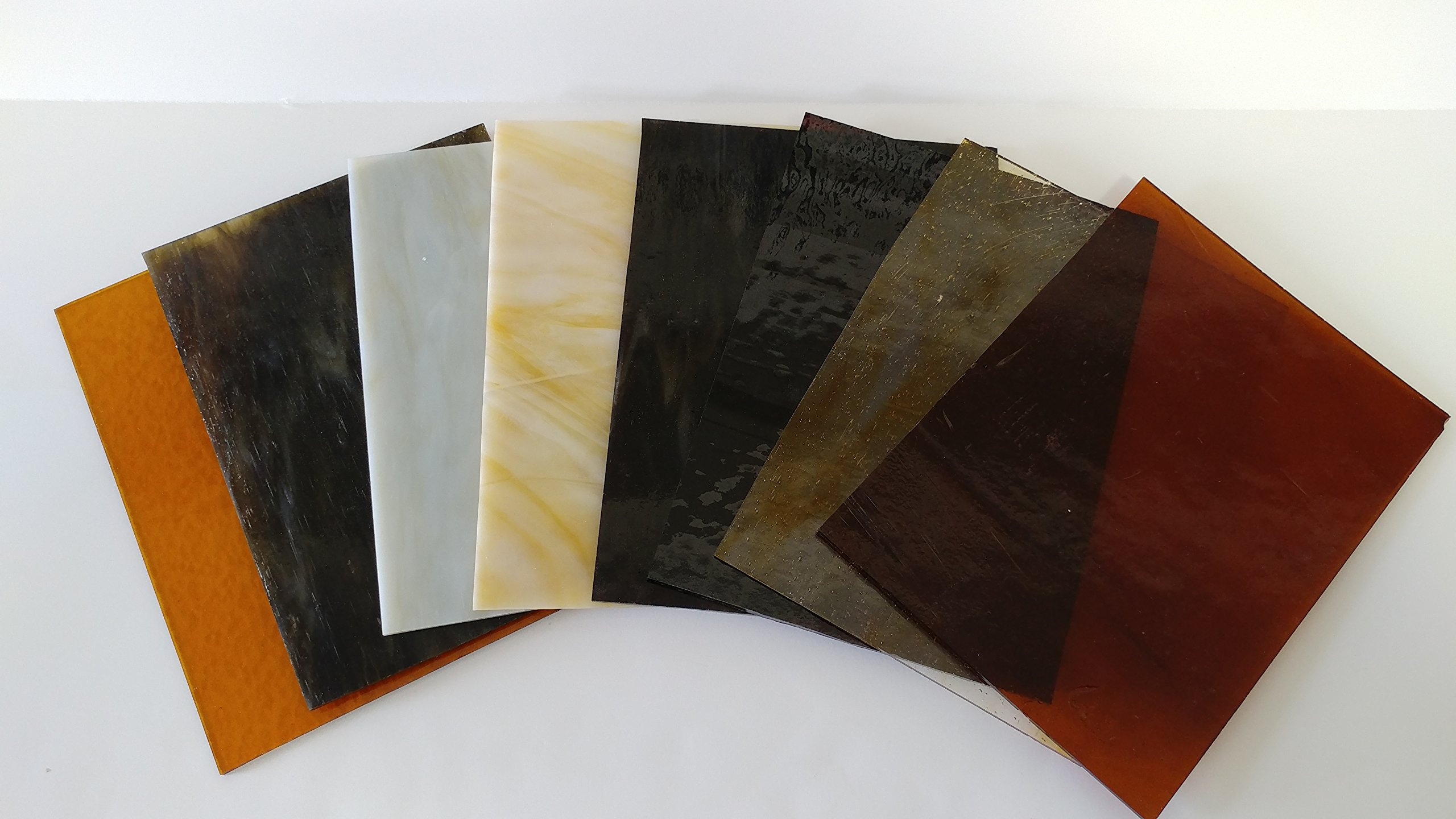 6''x8'' Amber Variety Stained Glass Pack By Stallings Stained Glass by Stallings Stained Glass