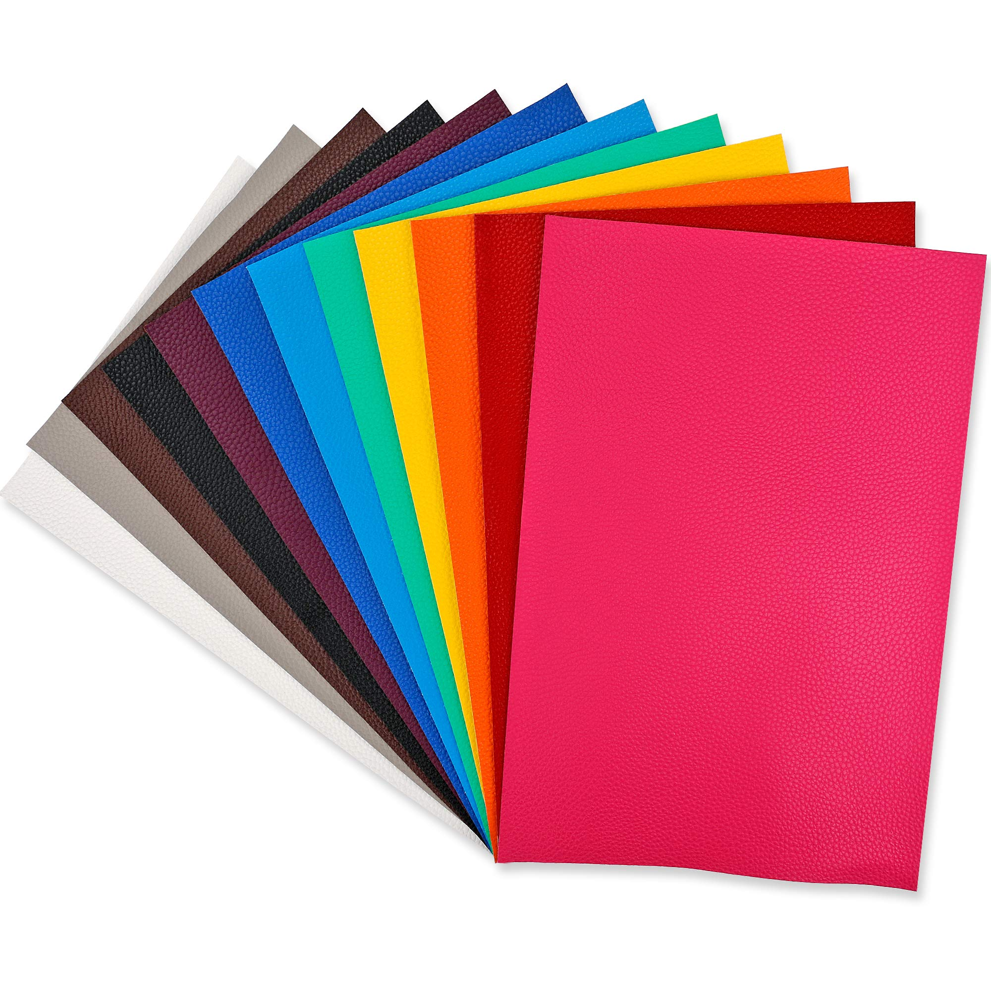 12 PCS PU Leather Fabric Leather Canvas Back 8'' x 12'' with 12 Different Colors for Making Hair Bow Wallet Handbags Dressing Sewing Craft DIY Projects