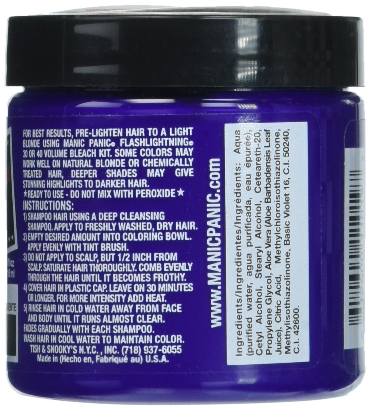 Manic Panic Semi-Permanent Haircolor Ultra Violet 4 Ounce Jar (118ml) (2 Pack)