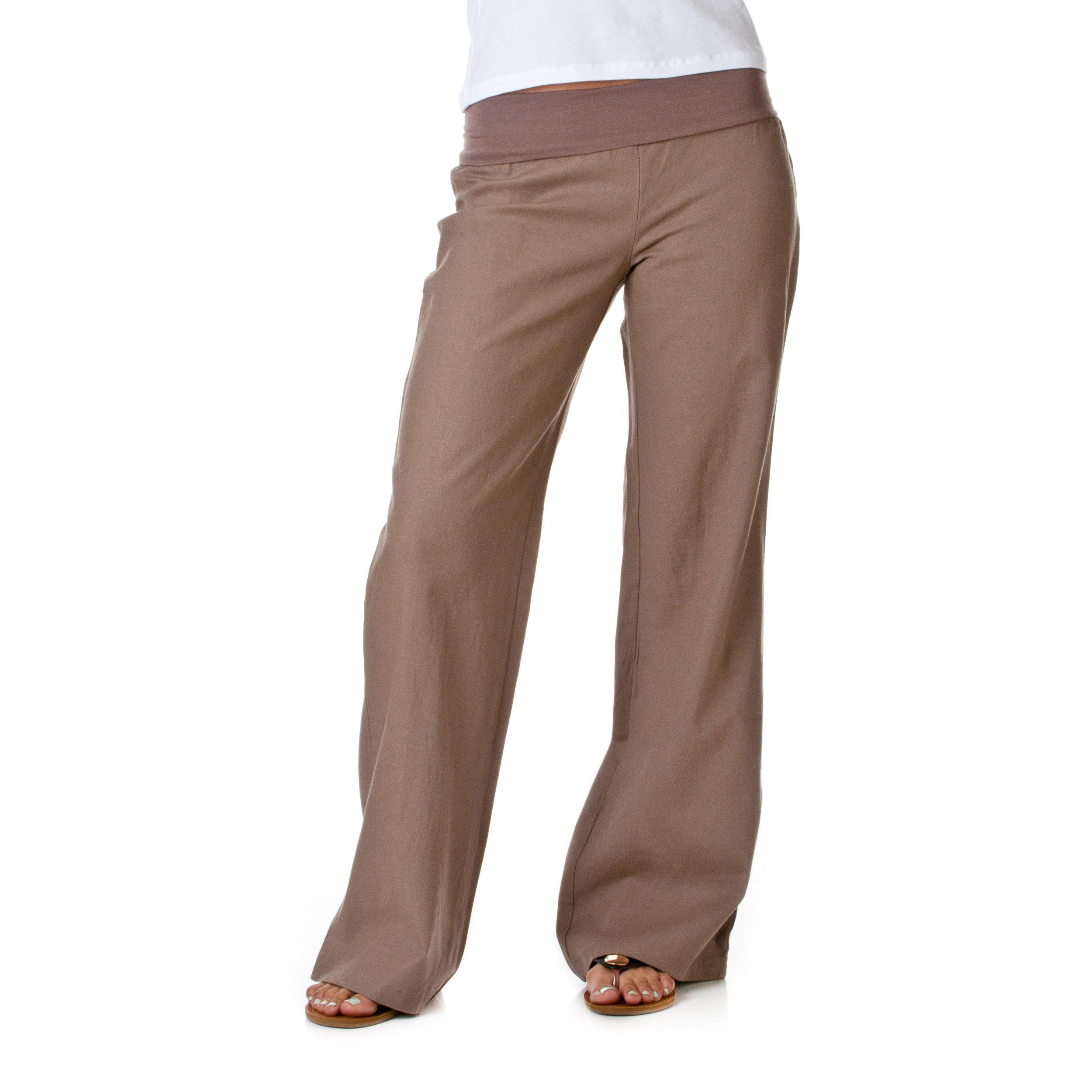 Love Tree Women's Fold-Over Waist Linen Pants, Cocoa, 1X