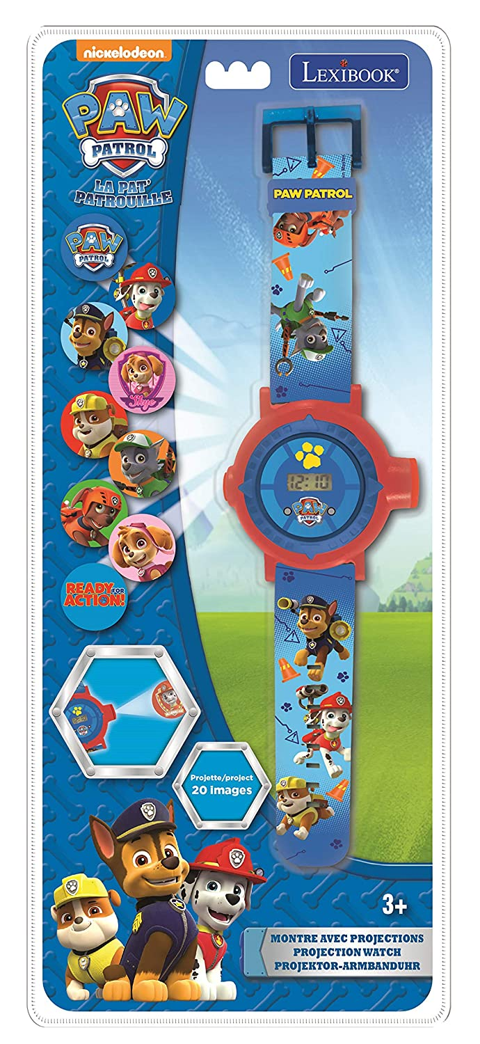 Amazon.com: LEXiBOOK Paw Patrol Chase Projection Watch, 20 Images of Your Favourite Characters, Send Code Messages with The projections, Blue/Red, ...