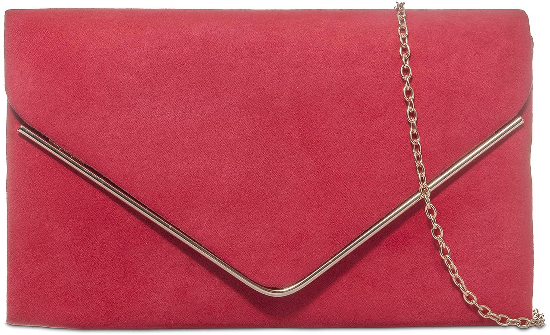 H&G Ladies Faux Suede Clutch Bag Envelope Metallic Frame Plain Design - Black 1515