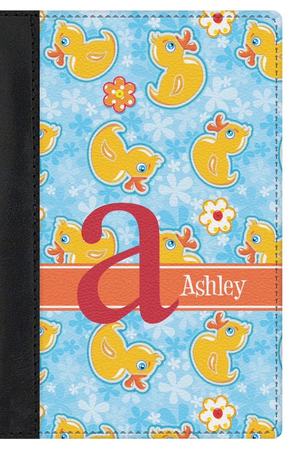 Rubber Duckies /& Flowers Genuine Leather Passport Cover Personalized