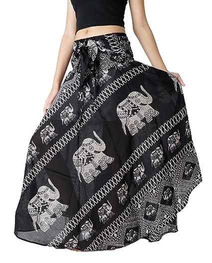 3943f65f45 Bangkokpants Women's Long Bohemian Hippie Skirt Boho Dresses Gypsy Clothes  Elephant One Size (Black,