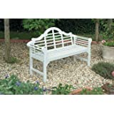 Wooden Garden Bench 3 Seater, FSC weather-resistant Acacia hardwood Lutyens Style Hand finished White Patio Lawn Garden