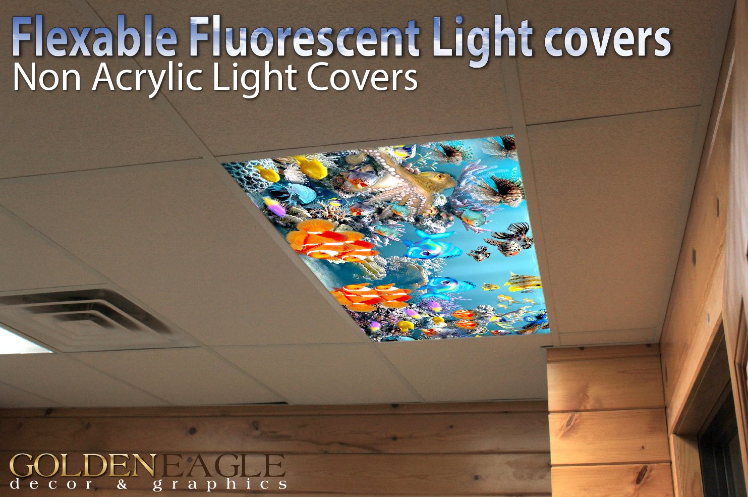Kitchen Fluorescent Light Covers Kids Ocean Reef 3 2ft X 4ft Drop Ceiling Fluorescent Decorative