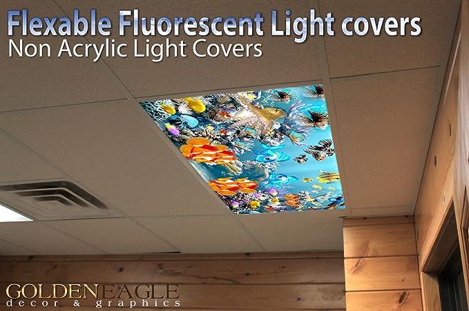 Kids Ocean Reef - 2ft x 4ft Drop Ceiling Fluorescent Decorative Ceiling  Light Cover Skylight Film