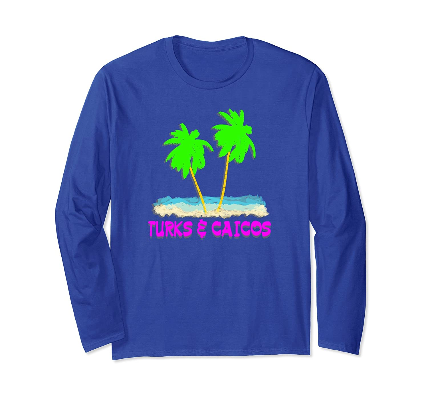 2 PALMS TURKS & CAICOS BEACH OCEAN VACATION LONG SLEEVE TEE-alottee gift