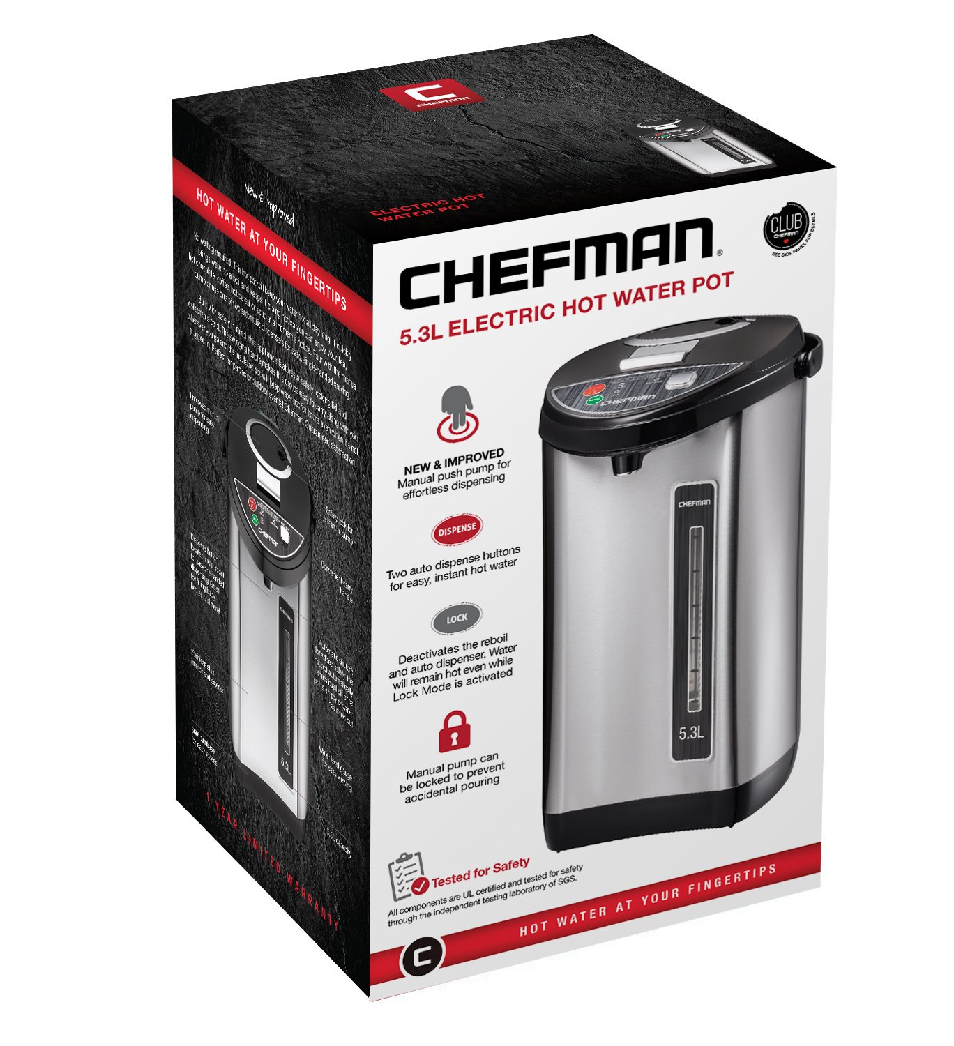 Chefman Instant Electric Hot Water Pot, Safety Lock To Prevent Spillage, 3 Dispense Buttons, Auto Shutoff, Easy View Water Level, Hot Water Urn, 700W & 120V, 5.3 Liters, Stainless Steel