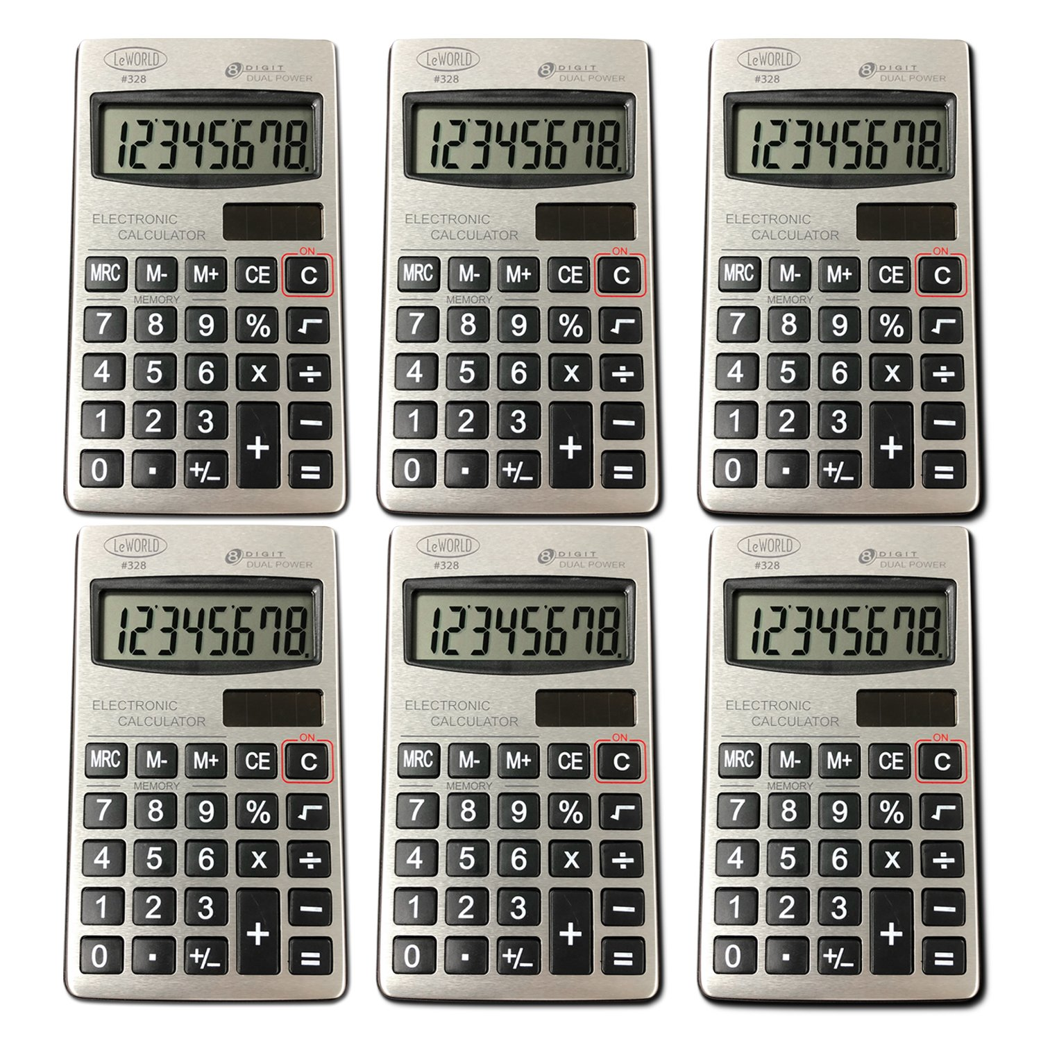 Digital Dual Power Small Pocket Size Standard Function Basic 8 Digit Calculator Bulk Value (6- Pack) by Assortit