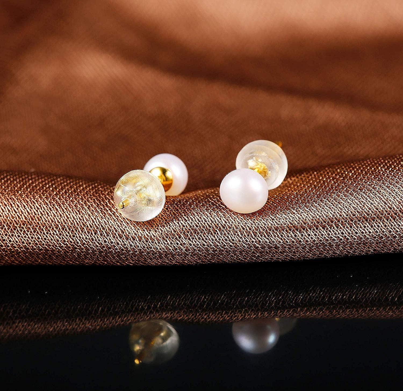 Finrezio Clous dOreilles en Argent Massif 925 avec Perle dEau Douce Perle de Culture pour Femme Plaqu/é Or 18K