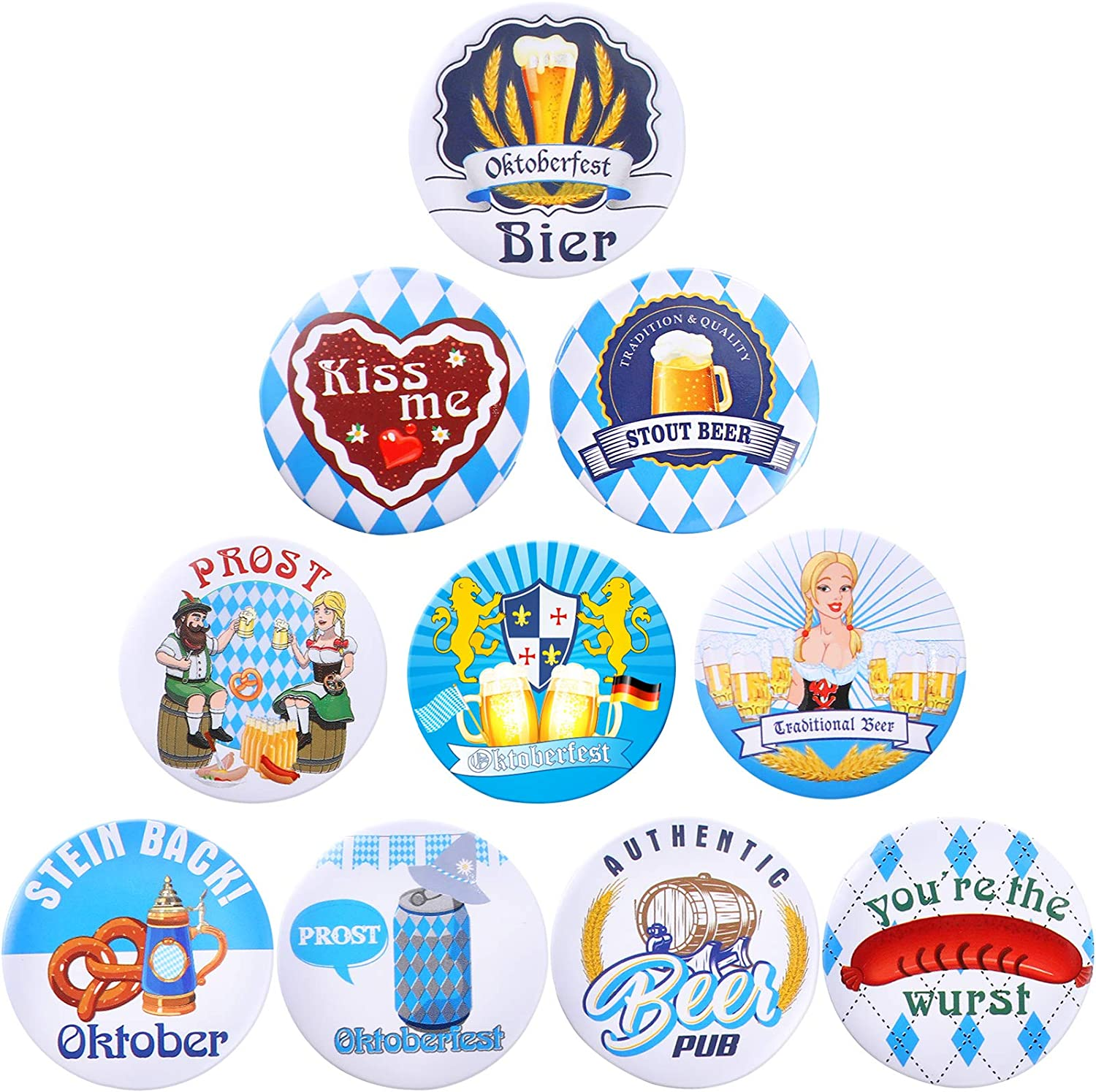 30 Pieces Oktoberfest Buttons Pins Bavarian Style Badges, 10 Different Patterns Oktoberfest Festivities Printed Pins Buttons for Oktoberfest Party Supplies and Decorations