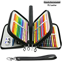 YOUSHARES 72 Slots Pencil Case - PU Leather Handy Multi-Layer Large Zipper Pen Bag with Handle Strap for Colored/Watercolor Pencils, Gel Pen, Makeup Brush, Small Marker and Sharpener (Black)