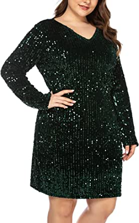 IN'VOLAND Women Glitter V-Neck Long Sleeve Bodycon Sequin Cocktail Party Club Evening Mini Dress(16~24W)