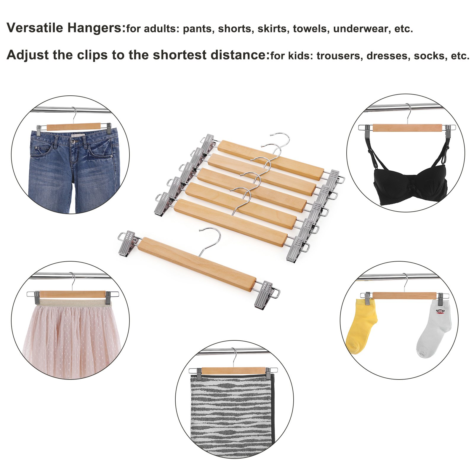 SONGMICS Hangers - Wood Pants Hangers 12 Pack Adjustable Anti-Rust Metal Clips (10.8'' - 13.0''), Perfect Skirts Pants Slacks Natural Grain UCRW008-12 by SONGMICS (Image #5)