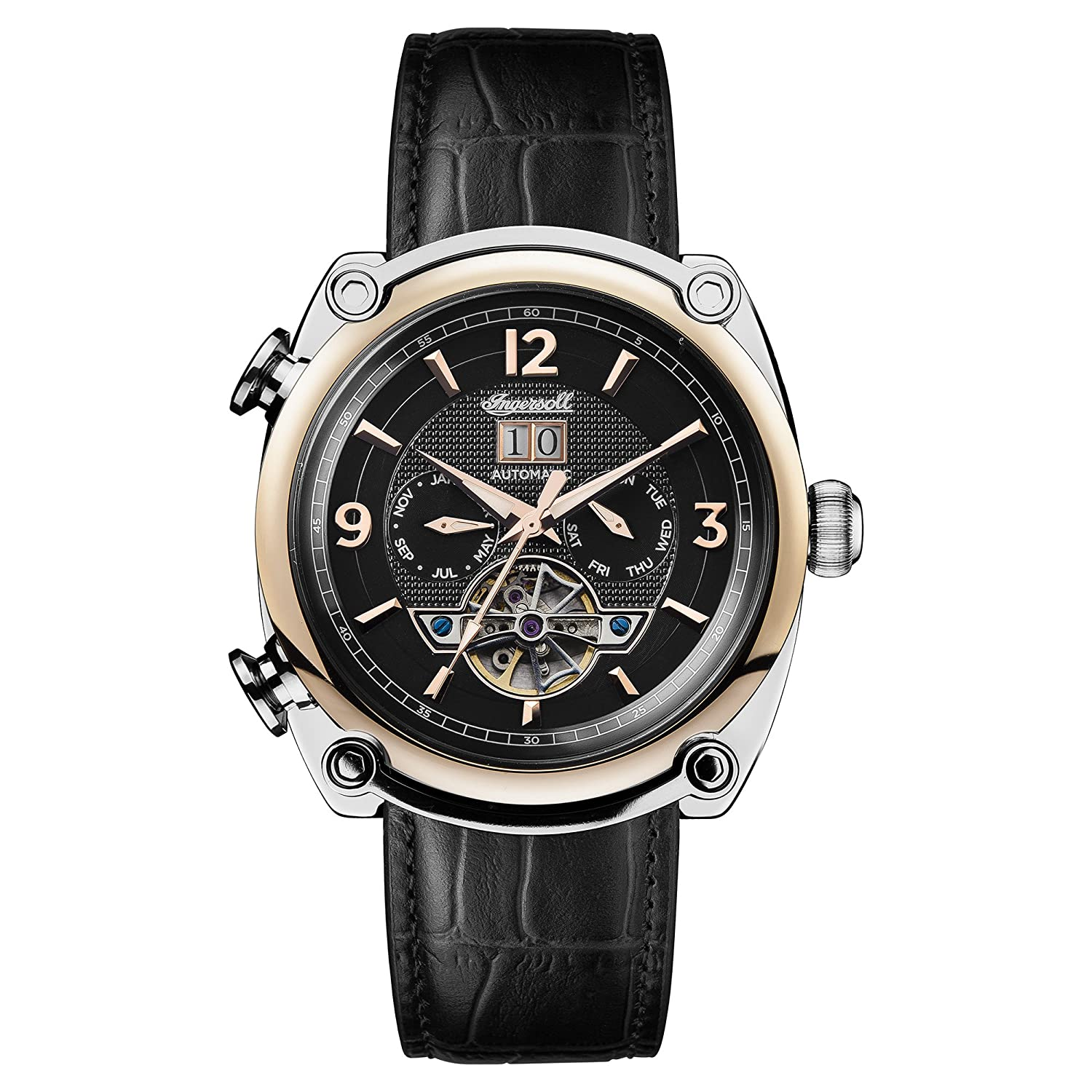 Amazon.com: Ingersoll Men's Automatic Stainless Steel and Leather Casual  Watch, Color:Black (Model: I01102): Watches