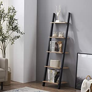 HOMYSHOPY 5-Tier Ladder Shelf Against The Wall, Industrial Bookcase Display Storage Rack for Living Room, Kitchen and Office