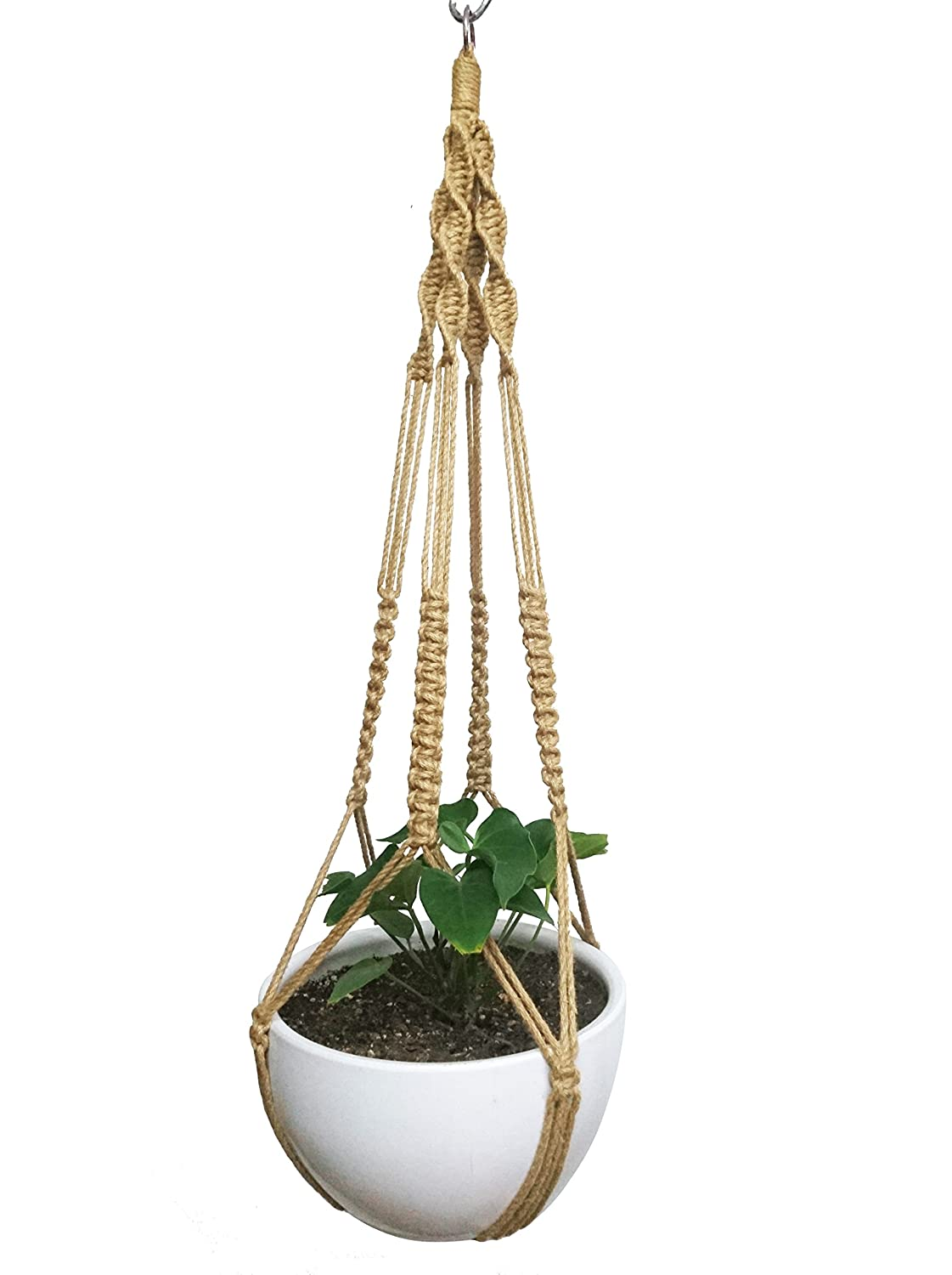 Macrame Plant Hanger Hanging Planter Hemp Rope 4 Legs Plant Hanger with Steel Ring Stand on Bottom 40 Inch without Tassel Pot and Plant Included for 10 inch to 12 inch Planter Pot No Hook