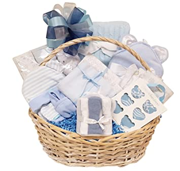 Amazon.com : Newborn Baby Boy Gift Basket with Essentials, Swaddling Set, Receiving Blanket Set, Socks, Hooded Towel, Hat, Mitts and Booties : Baby